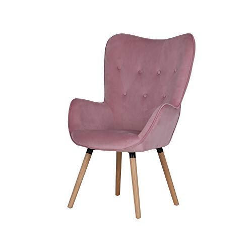 SVITA Cleo Ohrensessel Samt-Bezug Fernsehsessel Relaxsessel Chesterfield Rosa