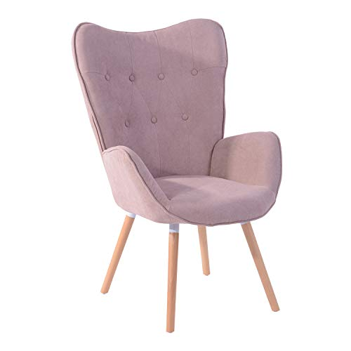 MEUBLE COSY 1er Set Vintager Retro Polstersessel Stoff Lounge Sessel Clubsessel Fernsehsessel Rosa, Holz, 68x73x106cm