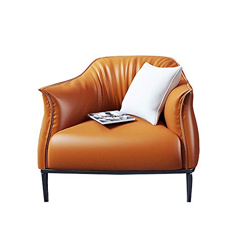 YaGFeng Sofa, Stuhl Familie Lounge Chair PU-Leder-Sessel for Wohnzimmer Schlafzimmer Club Office Couch Lehnstuhl (Color : Orange, Size : 80x78x78cm)
