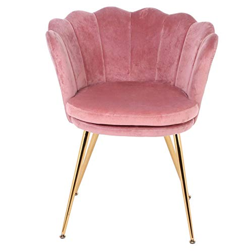Emoshayoga Samtstuhl Gaststuhl Stoff + Eisen Pink Dinner Chair Retro Home Bedroom Dressers Off