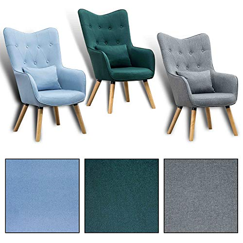 Estexo Home and Garden Fernsehsessel TV Lounge Relaxsessel Polstersessel Lesesessel Stoff Kissen (Hellblau)