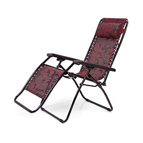 GLZDY Liegestühle, Mittagspause Office Lounge Chair Tragbarer Strandloungesessel, Weinrot
